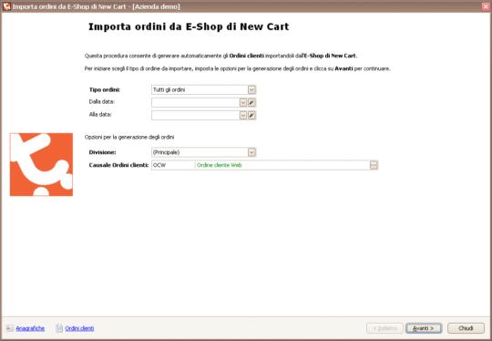 Integrazione NewCart - Importazione ordini - Passo 1