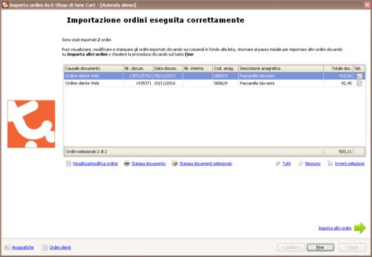 Integrazione NewCart - Importazione ordini - Passo 5